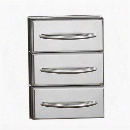 N370-0360 Flat Stainless Steel Built-in Triple Drawer