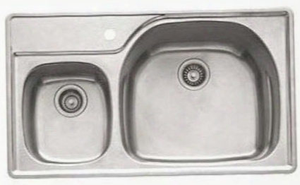 "Prx620lh Prestige Series 38"" Topmount Double Bowl Sink With Integral Shelf And Left-hand Side Task Bowl In Stainless"
