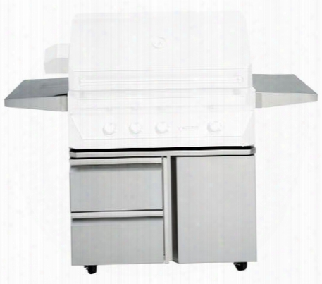 Tegb36sd-b Grill Base With Soft Closing Door Self-latching Drawers Heavy Duty Casters Fold Down Side Shelves And Stainless Teel