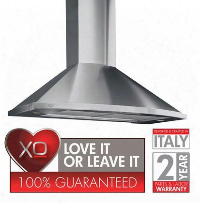 """Xos Series Xos36s 36"""" Chimney Style Wall Mount Designer Range Hood With 600 Cfm Internal Blower 3 Speed Control Push Button Controls Convertible To"""