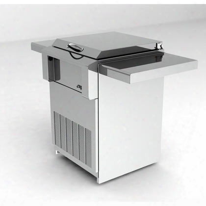 """Ardi-c 30""""  Freestanding Cart With Reach In Refrigerator With 4.4 Cu. Ft. Capacity Removable Condiment Tray Retractable & Removable Lid And Folding Side"""