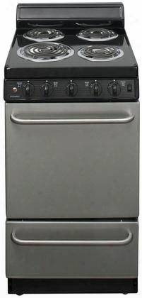 "Eak600bp Stainless Steel 20"" Electric Range With 2.4 Cu. Ft. Capacity One 8"" Coil Element Three 6"" Coil Elements 4"" Porcelain Backguard Surface Signal"