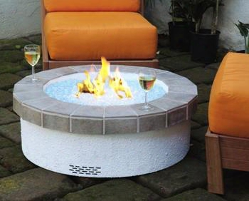 Oc-34tt-gzp 34 Inch Terracotta Tile Top Fyre Pit Set With Fire Glass - Liquid Propane In