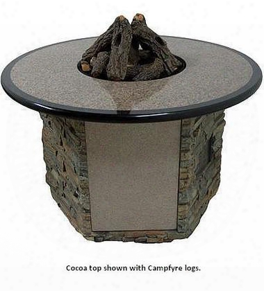 Octbs-52b-bw-01 Granite Table With Stack Stone Base Beachwood Logs And Stones - Natural Gas In Cocoa With Ebony Trim