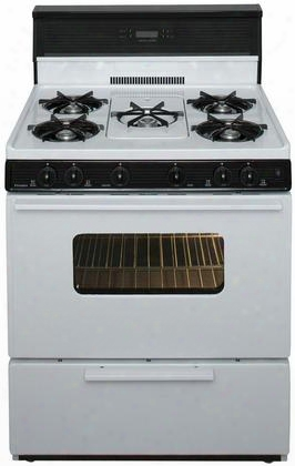 """Sfk249wp White 30"""" Electronic Spark Gas Range With 3.9 Cu. Ft. Capacity Five Cooktop Burners Lift Up Top And 10"""" Tempered Black Glass Backguard With"""