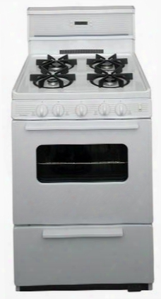 "Sjk240op White 24"" Electronic Spark Gas Range With 3 Cu. Ft. Capacity Four Sealed Variable Burners Heavy-duty Cast-iron Grates And 10"" Tempered Glass"