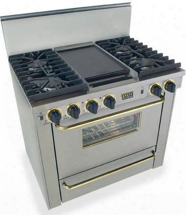 "Tpn-331-7bsw 36"" Freestanding Gas-liquid Propane Range With 4 Sealed Ultra High-low Burners 3.69 Cu. Tf. Covection Oven Broiler Drawer Double Sided"