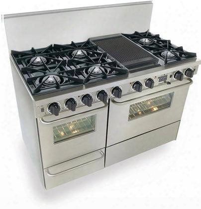"""Tpn537-7bsw 48"""" Freestanding Dual Fuel-liquid Propane Range With 6 Burners 3.69 Cu. Ft. Convection Electric Oven 2.49 Cu. Ft. Secondary Oven Capacity In"""