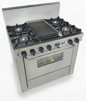 "Ttn-325-7bw 36"" Freestanding Dual Fuel-natural Gas Range With 4 Open Burners 3.69 Cu. Ft. Convection Oven Self Cleaning Double Sided Grill/griddle 240"