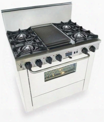 """Wtn-325-7w 36"""" Freestanding Dual Fuel-natural Gas Range With 4 Open Burners 3.69 Cu. Ft. Convection Oven Self Cleaning Double Sided Grill/griddle 240 Volts"""