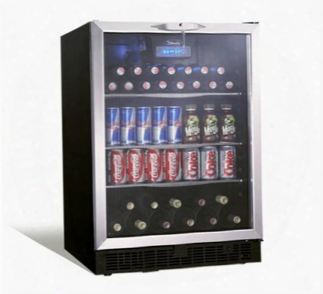 "Dbc514bls Silhouette Ricotta 24"" Built-in Beverage Center With 5.3 Cu. Ft. Capacity 11-bottle Capacity 110 Can Capacity Blue Light Reversible Door In Black"