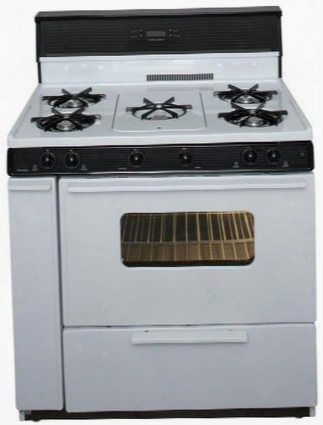"""Slk249wp White 36"""" Three-way Top Electronic Spark Gas Range With 3.9 Cu. Ft. Capacity Five Cooktop Burners 10"""" Tempered Black Glass With Clock/timer And"""