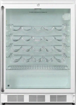 """Swc-6gwlsh 24"""" Commercially Approved Under-counter Wine-cellar With 5.5 Cu. Ft. Capacity Full Length Towel Bar Handle Factory Installed Lock And Double Pane"""