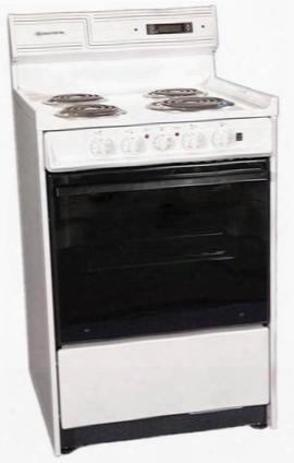 "Wem630dk 24"" Freestanding Electric Range With 4 Open Burners 2.46 Cu. Ft. Capacity Manual Clean Black Glass Door Storage Drawer & Clock With Ti Mer In"
