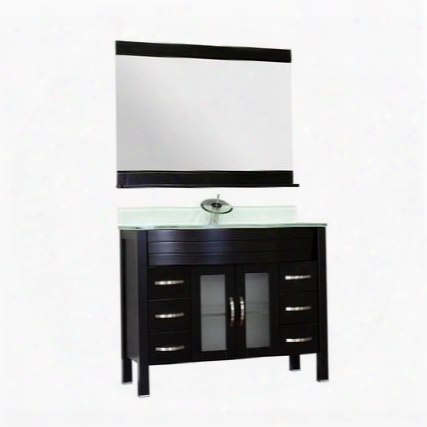 """Aw-082-42-b-wgt-nm Elite 42"""" Single Modern Bathroom Vanity In Black With White Glass Top Without"""