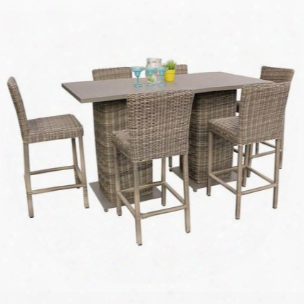 Capecod-pub-kit-6 Cape Cod Pub Table Set With Barstools 8 Piece Outdoor Wicker Patio