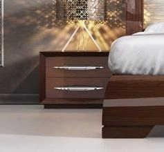 """Carmen Collection I11321 24"""" Nigh Tstand With 2 Drawers Self-closing Mechanism Silver Metal Hardware And Wood Construction In Walnut"""