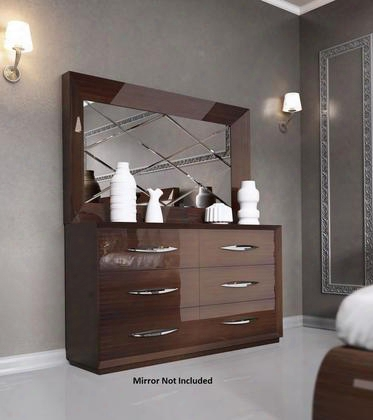 "Carmen Collection I11322 63"" Double Dresser With 6 Drawers Self-closing Mechanism Silver Metal Hardware And Wood Construction In Walnut"