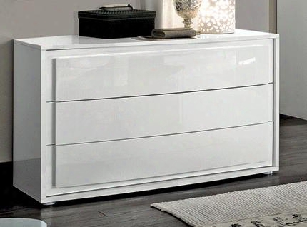 "Dama Bianca Collection I16980 50"" Dresser With 3 Drawers And Wood Construction In White"