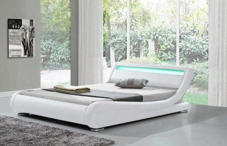 "Edgewater Collection Sf-808-k-w 91"" Modern King Bed With Led Lights Low Profile And Leatherette Upholstery In"