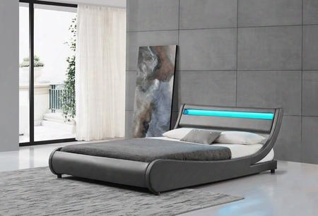 "Edison Collection Sf-810-k-g 91"" Modern King Bed With Led Lights On Headboard Low Profile Panel Headboard And Leatherette Upholstery In"