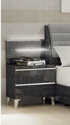"""Elite Collection I11185 23"""" Nightstand With 2 Drawers Tapered Metal Legs And Wood"""