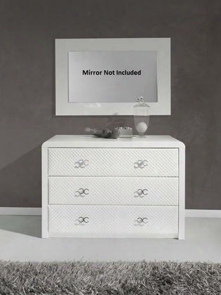 "Emily Collection I17508 43"" Dresser With 3 Self Closing Drawers And Silver Metal"