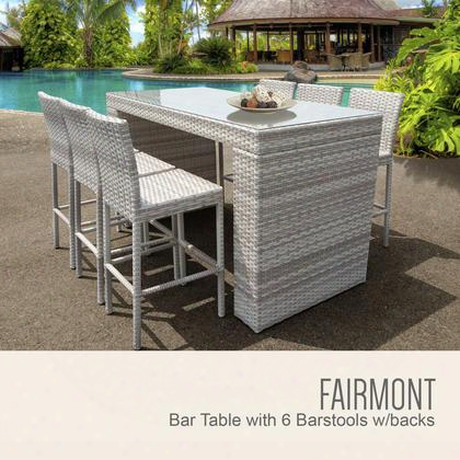 Fairmont-bartable-withback-6 Fairmont Bar Table Set With Barstools 7 Piece Outdoor Wicker Patio