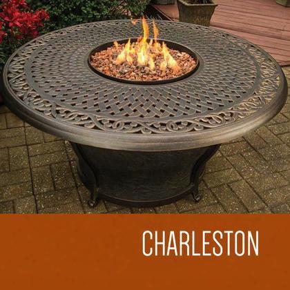 Fp-charleston-kit Charleston - 48 Inch Round Cast Top Gas Fire Pit