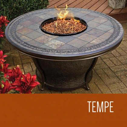 Fp-tempe-kit Tempe - 48 Inch Round Slate Top Gas Fire Pit