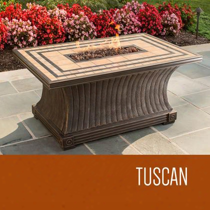 Fp-tuscan-kit Tuscan - 32 X 52 Inch Rectangular Porcelain Top Gas Fire Pit