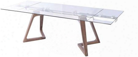 "I17272 71""-103"" Extendable Dining Table With Clear Glass Top Rectangular Shape And Wood"