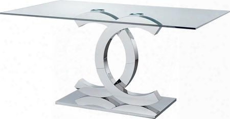 "I17645 71"" Dining Table With Rectangular Base And Glass Top In Clear"
