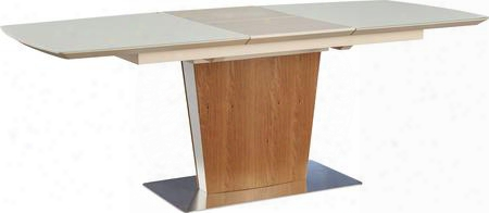 "I17649 63""-83"" Extendable Dining Table With Butterfly Extension Metal Base Rectangular Shape And Oak Veneer"