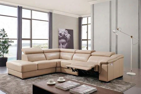 I17729 Sectional Sofa With Electric Recliner Adjustable Headrests Pillow Top Arm And Leather