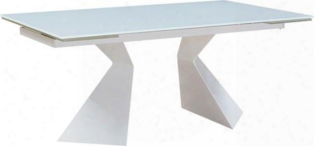 "I17848 74""-99"" Extendable Table With Super White Glass Top Rectangular Shape And Metal Base In"