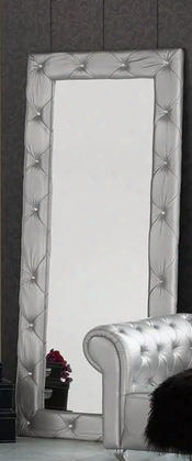 """Lorena Collection I2091 79"""" X 35"""" Free Standing Mirror With Crystal Tufting And Pu Leather Upholstery In Silver"""