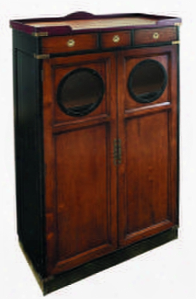 "Mf027 Porthole Cabinet 18.3"" With Cherry Mdf W/cherry Veneer & Pine Material In Honey Distressed French"