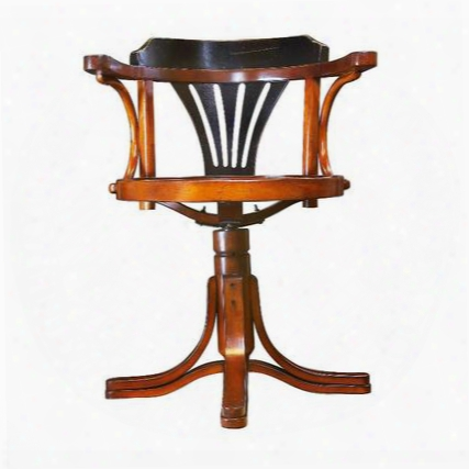 """Mf081 Purser's Chair Black 24"""" With Maple & Plywood Materrial In Black & Honey Distreseed French"""