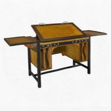 "Mf086 Bureau Architecte 43.3"" With Maple & Mdf W/cherry Veneer Material In Honey Distressed French"