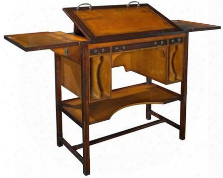 "Mf087 Bureau Architecte Tall 43.3"" With Maple & Mdf W/cherry Veneer Material In Honey Distressed French"