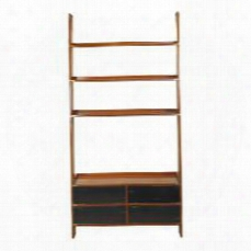 "Mf091 Gallery Tv Ladder 47.2"" With Maple Mdf W/cherry Veneer Pine & Plywood Material In Black & Honey Distressted French"