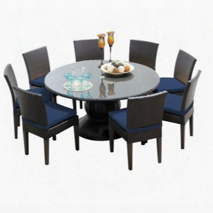 Napa-60-kit-8c-navy Napa 60 Inch Outdoor Patio Dining Ta6le With 8 Armless Chairs With 2 Covers: Wheat And