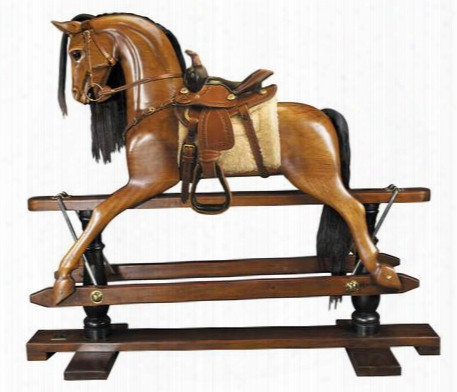 "Rh006w Rocking Horse Western Saddle 18.3"" With Brass Leather Mahogany Nickle Plated Steel Glass Material In Honey Distressed French"