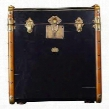 "MF079B Stateroom Trunk End Table Black 20.9"" with Maple Pine Leather Brass & MDF Material in Black & Honey Distreseed French"