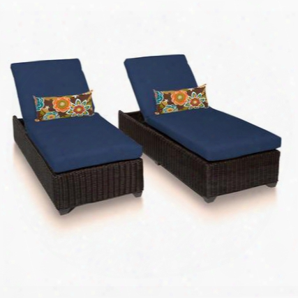 Venice-2x-navy Venice Chaise Set Of 2 Outdoor Wicker Patio Furniture With 2 Covers: Wheat And