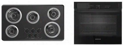 """2-piece Kitchen Package With Acc6356kfb 36"""" Electric Cooktop And Awo6317 Sfb 27"""" Electric Single Wall Oven In"""