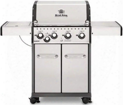 922564 Baron S440 Liquid Propane Gas Grill With 4 Burners 40000 Btu Main Burner Output 10000 Btu Side Burner 444 Sq. In Cooking Area In Stainless
