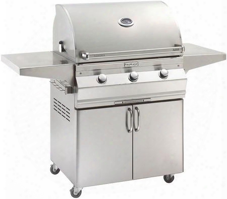 "A660s5ean61 Aurora 63"" Cart With 30"" Natural Gas Grill E-burners Side Shelve5 Analog Thermometer And Up To 75000 Btus Heat Output In Stainless"