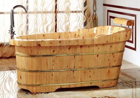 "Ab1139 61"" Free Standing Cedar Wooden Bathtub With Fixtures & Headrest Pop-up Chrome Drain Fixtures And Re-enforced By Three Electroplated Iron Wraps In"